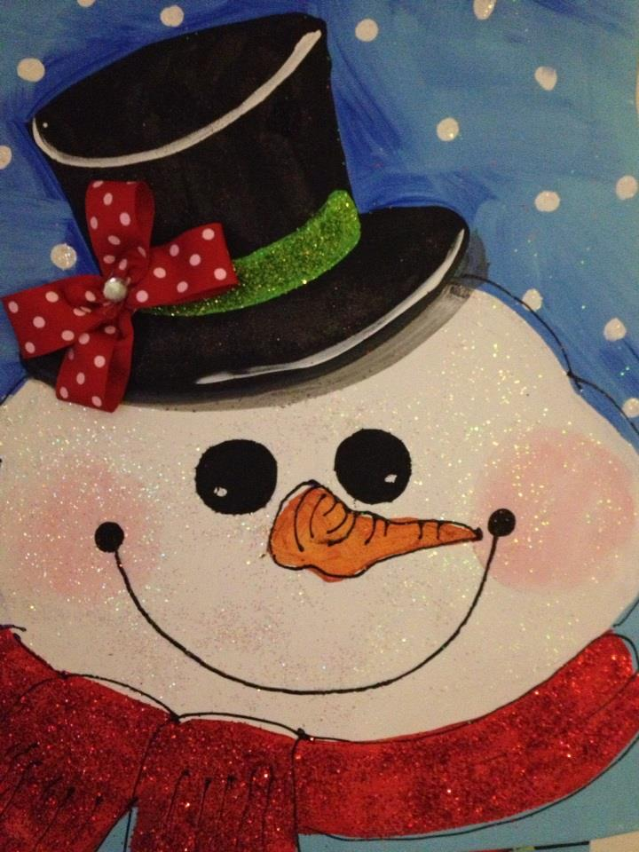 Snowman holiday canvas • 16x20 on loose canvas * sparkle tool hanger • FOR SALE: $36